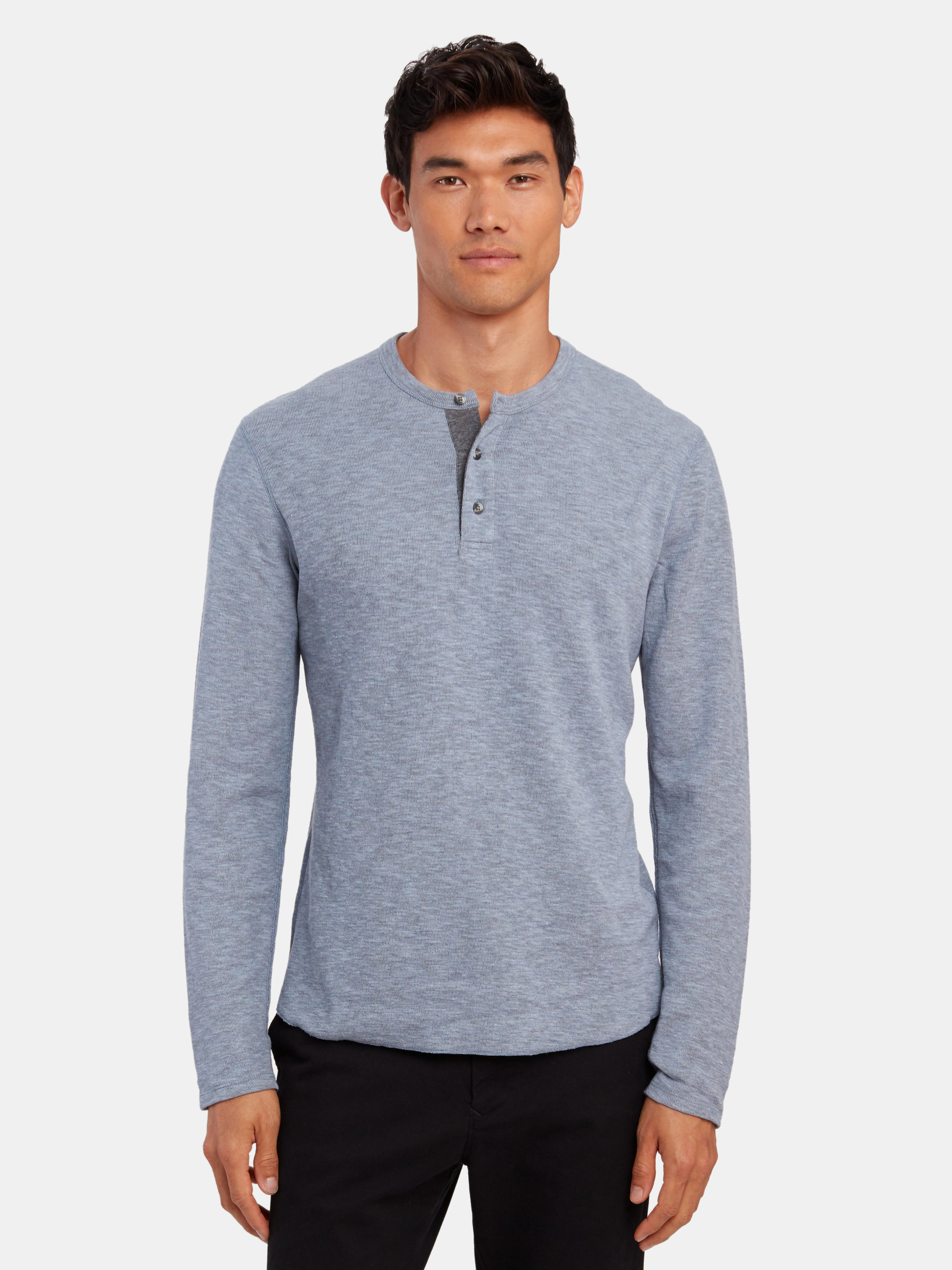 Theory Men/'s Navy Activate Jersey Snap Henley Long Sleeve Shirt