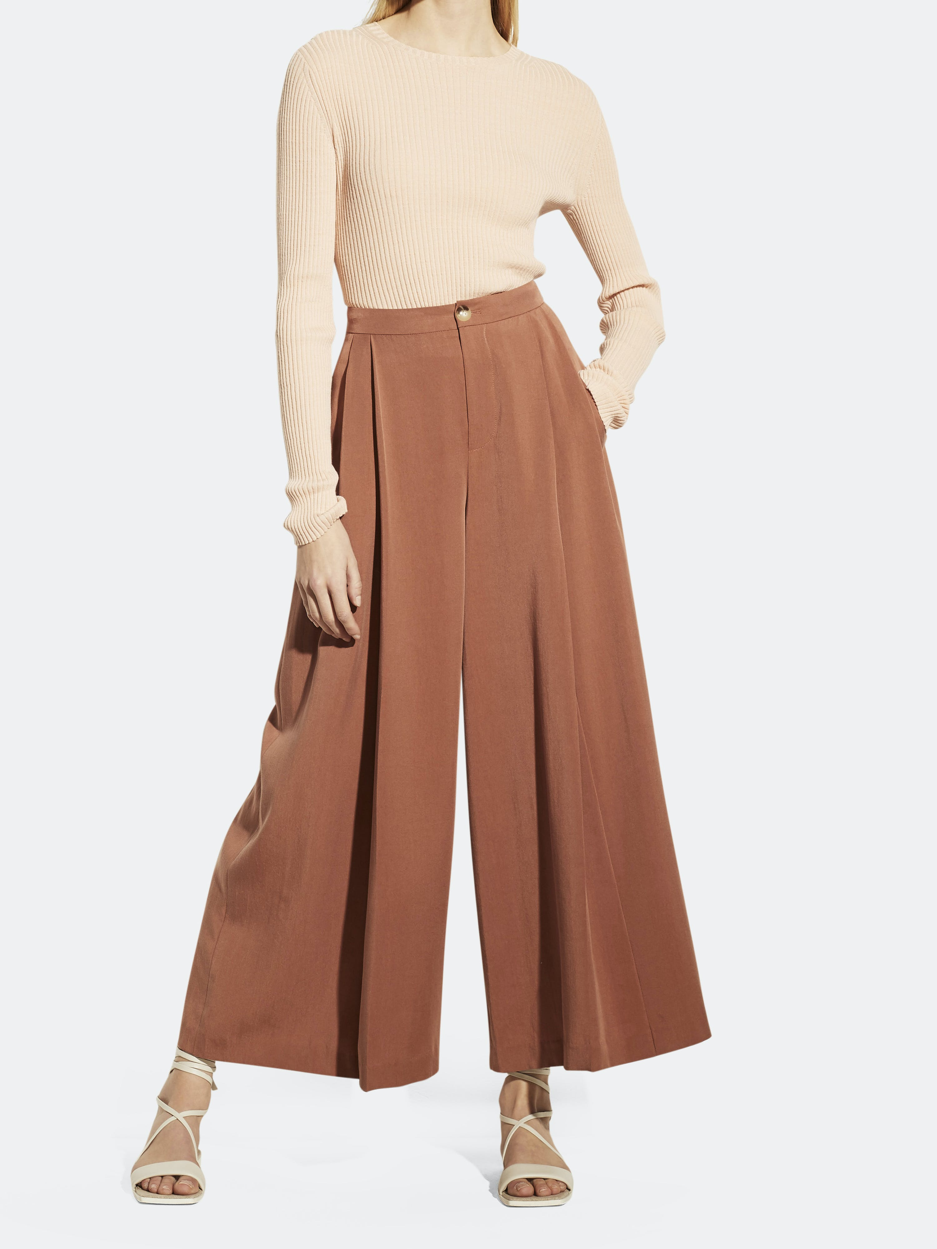Vince VINCE HIGH RISE ANKLE LENGTH PLEATED CULOTTE