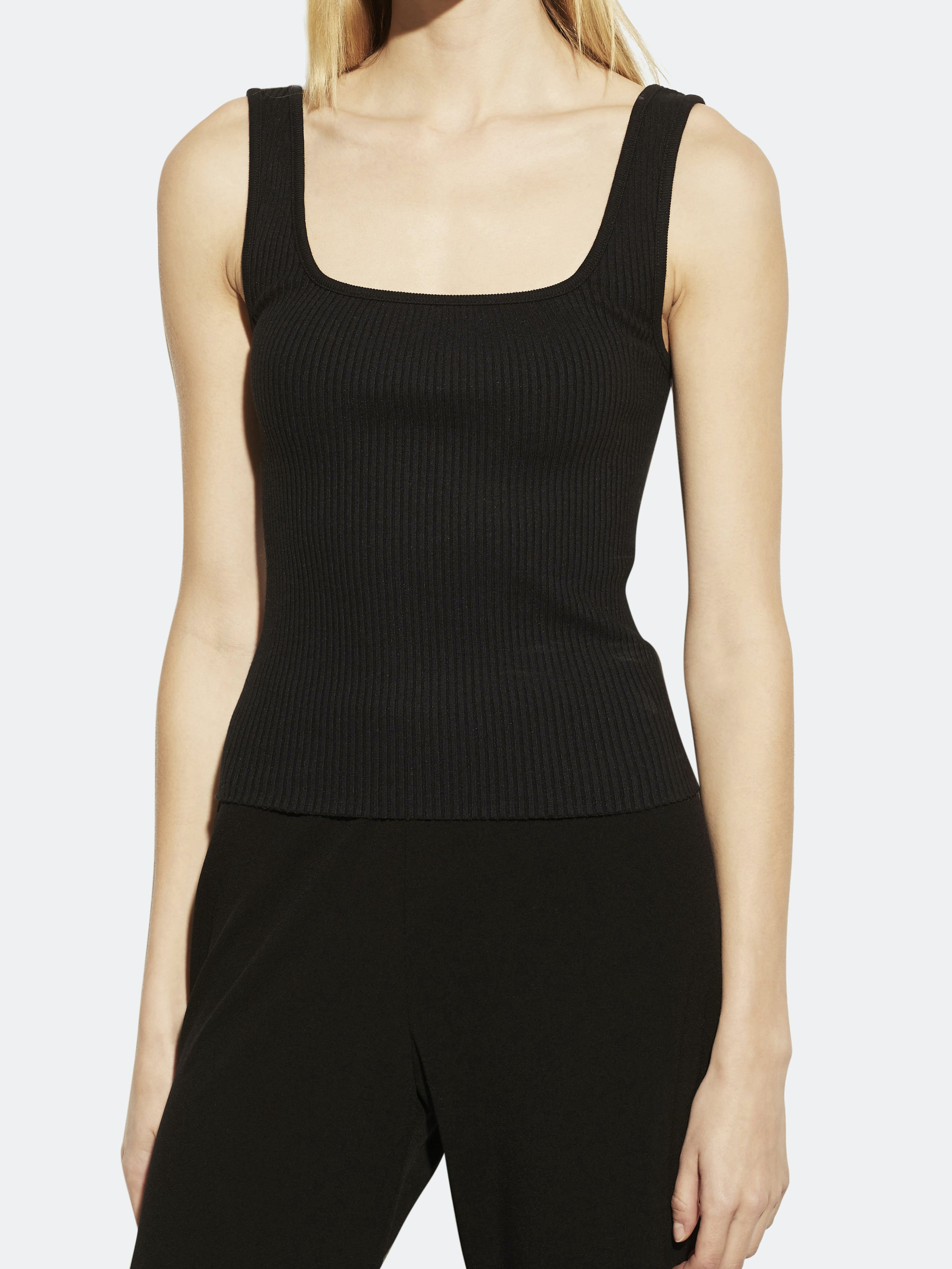 Vince Cottons VINCE RIBBED SQUARE NECK TANK